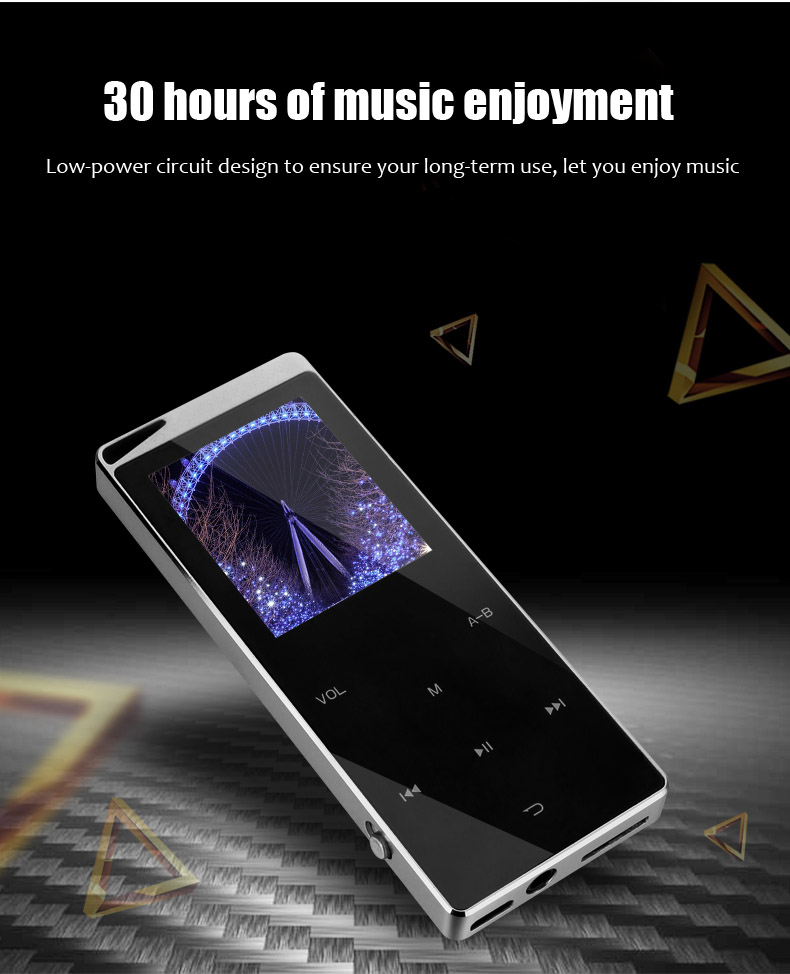 2021 New Bluetooth MP4 Music Player 4GB 8GB 16GB Touch Key SD Card Insert FM Radio Multiple Language Luxury Metal HiFi Player
