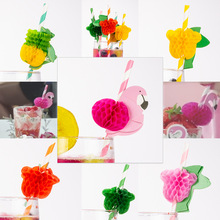 12pcs 3D  Pineapple Flamingo rose fruit Paper Straw Decorations - Drinking Straws Decorative For Party Table Decor