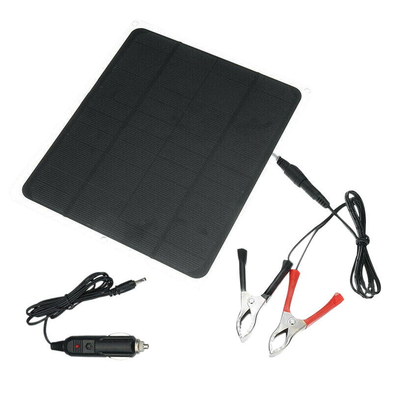 Promotion--20W Solar Panel 12V / 5V Battery Charger for Rv Boat Car Home Alligator Clip image