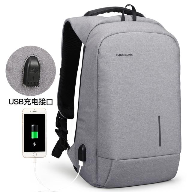 Kingsons  Laptop Backpack Men Women 13 15 USB Chargin Anti-theft Lock Travel Backpack Phone Sucker School Bag Fashion Backpack 3