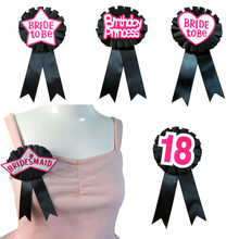 10pcs Black ribbon pink felt fabric brooch glitter white Women badge Star bridemaid button 18 21 30 40 birthday hen party pin(China)