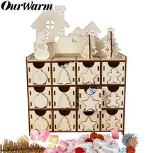 OurWarm DIY Wooden Christmas Countdown Calendar New Year Gifts Home Decorations Ornaments Advent Supplies