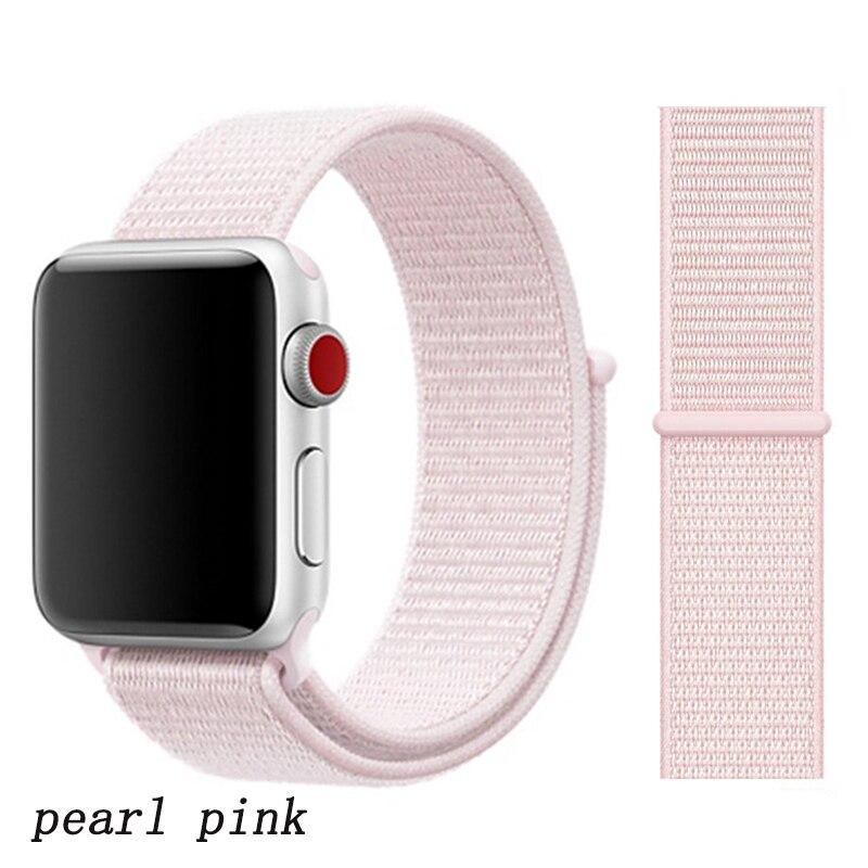 Спортивная петля ремешок apple watch band 42 мм 38 мм apple watch 4 3 band iwatch band 44 мм 40 мм correa pulseira 42 44 нейлоновый ремешок для часов - Цвет ремешка: pearl pink 12