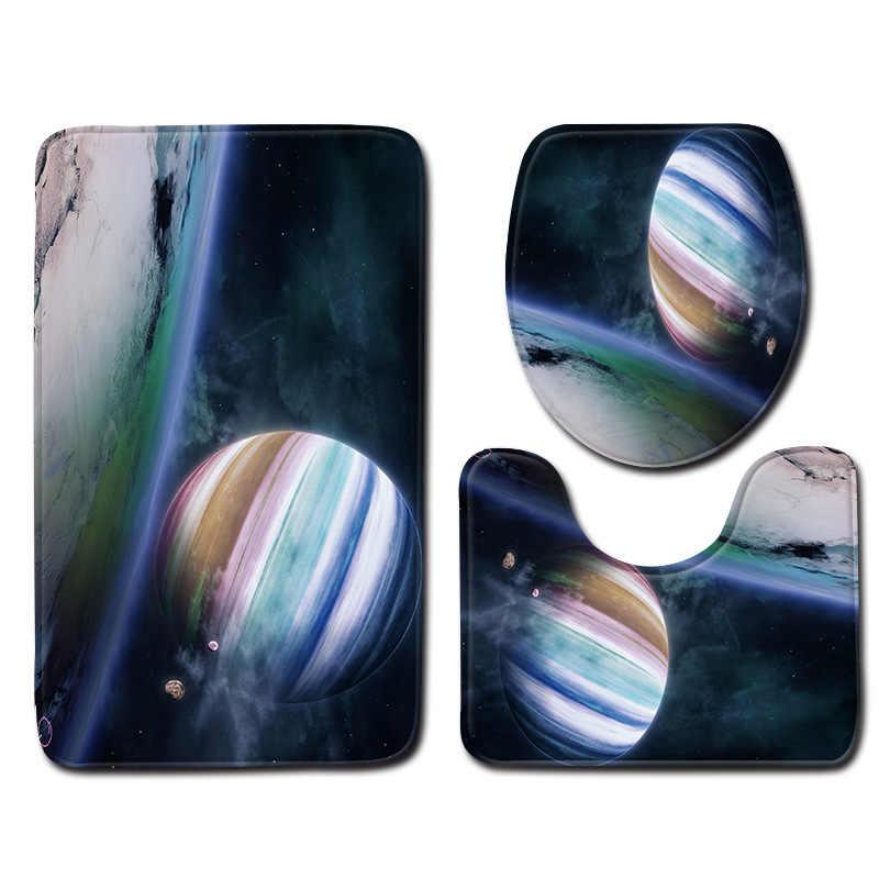 Zeegle 3D Universe Printed 3pcs Toilet Set Bath Mat Set Soft Toilet Pedestal Rug Foot Mat Anti Slip Bathroom Doormat Shower Mat
