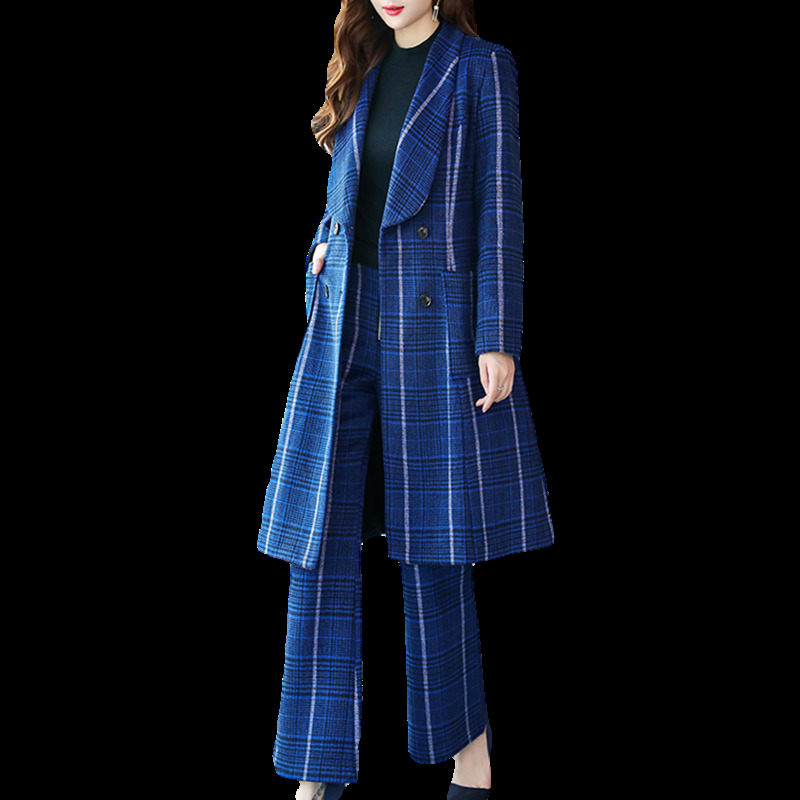 2019 New Arrival Women Clothing Autumn And Winter In Fashion Chic Women Wool Suit Stripe Slim Fit Women Wide Leg  For Woman