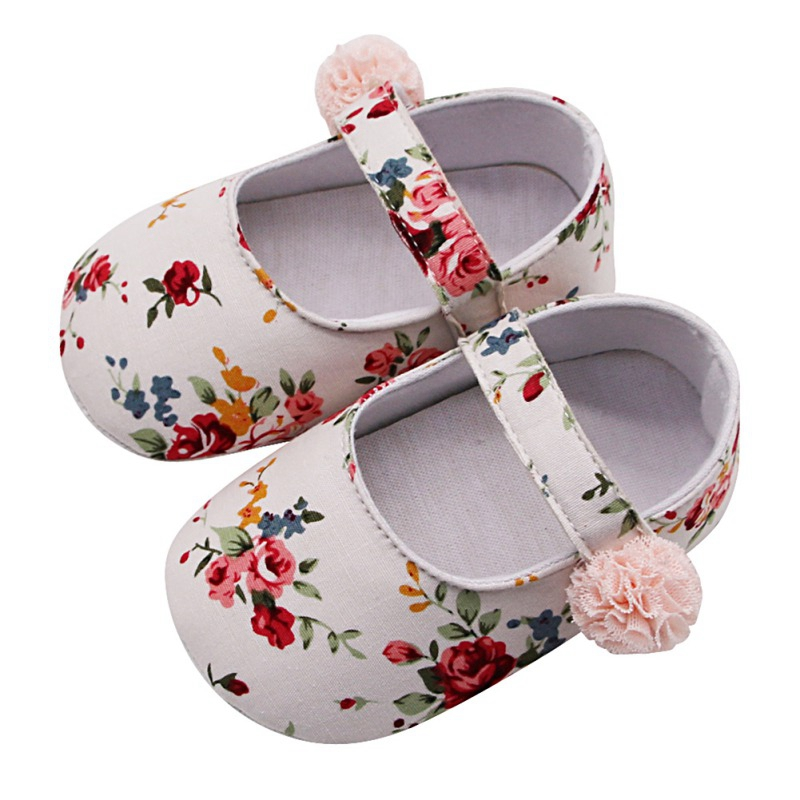 Nylon Clasp Anti-slip Baby Girl Breathable Floral Print Anti-Slip Shoes Casual Walking Shoe Toddler Soft Soled First Walkers