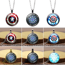 1 PC Marvel American Captain Iron Man Energy shield necklace Stylish glass convex Pendant Female clavicle chain
