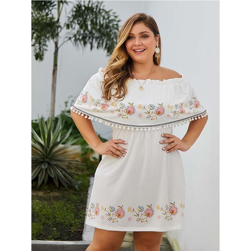 WHZHM белое платье для женщин, с вырезом лодочкой, кисточками, с коротким рукавом, для вечеринки, винтажное, Vestidos, летнее, плюс Размер 3XL, 4XL, сексуальные платья, Feminina Платья    - AliExpress