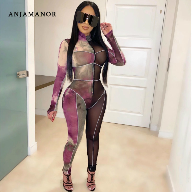 ANJAMANOR Fashion Fall Winter Jumpsuit Party Night Club One Piece Outfit Sheer Mesh Print Long Sleeve Bodycon Jumpsuits D30-AC71
