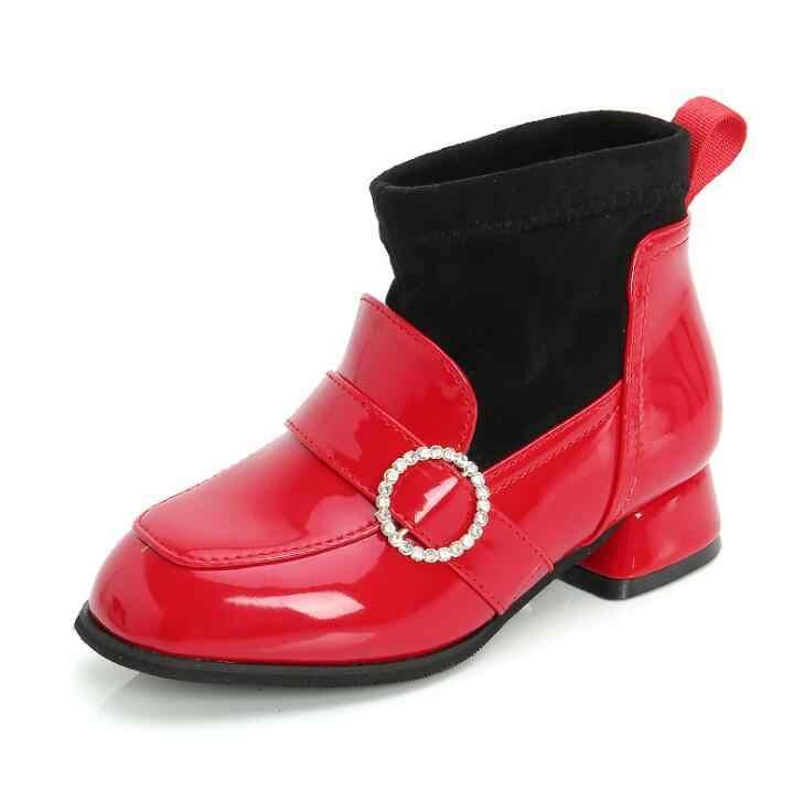 Фото Брендовые осенне зимние детские ботинки обувь из искусственной кожи для