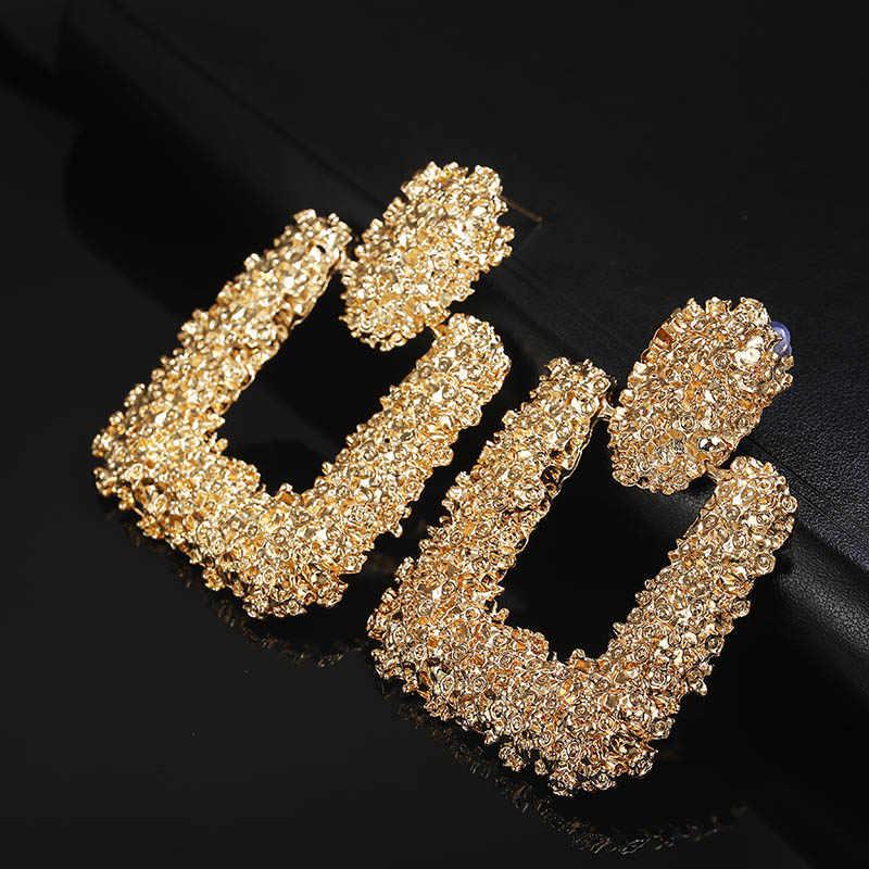 ZA Style Vintage Earrings for women gold Geometric statement earring 2019 texture metal drop earing Hanging fashion jewelry