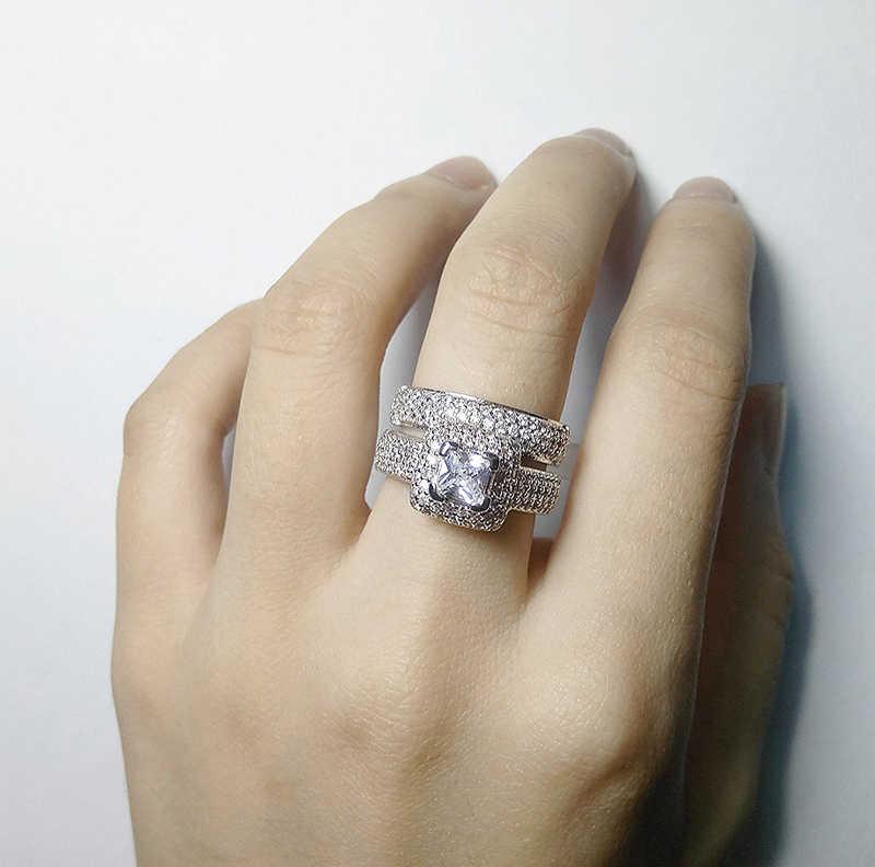 YANHUI אלגנטי חתונה אירוסין טבעות סט 2 PCS כסף יום נישואים אביזרי עם מלא מבריק Cubiz זירקון אבן תכשיטי מתנה