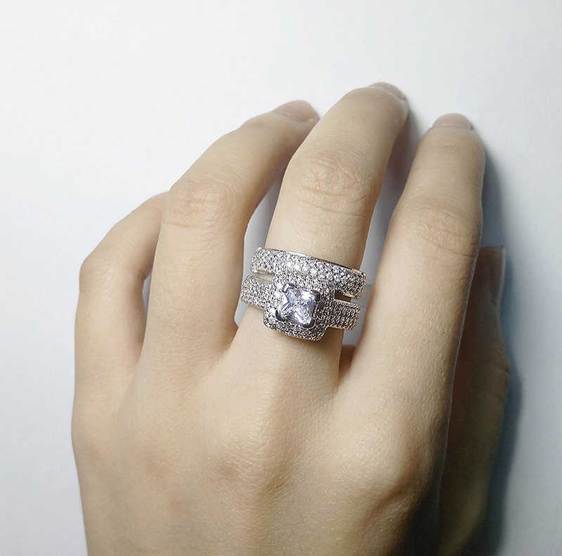 YANHUI טרנדי יוקרה 925 סטרלינג כסף חתונה טבעת סט להקת עבור כלה בנות ונשים Ladys אהבת זוג זוג תכשיטים KR149