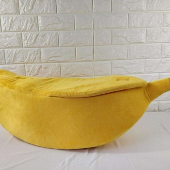 Funny Banana Shape Pets Cat Bed House Cozy Cute Banana Puppy Cushion   4