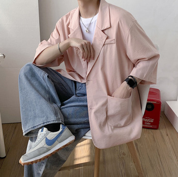 цена 2020 Spring And Autumn New Youth Popular Ins Drape Solid Color Seven-point Sleeve Suit Fashion Casual Loose Top M-3XL онлайн в 2017 году