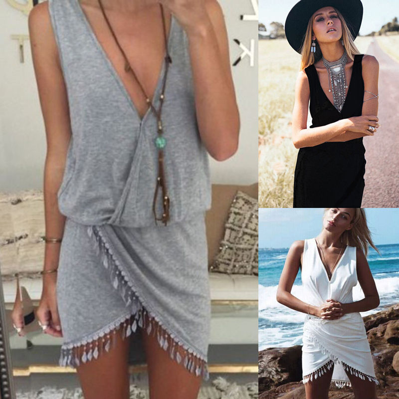Boho Sunner Sexy Women Sarong Bikini Cover Up Deep V-neck Beach Dress With Tassel Beachwear Swimwear Solid Tunic Dresses