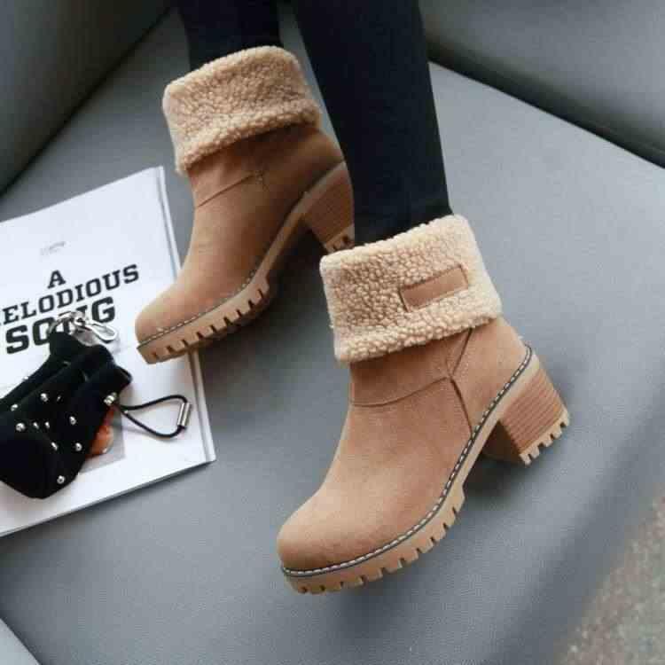 2019 Giày Bốt Nữ Mùa Đông Ngoài Trời Giày Mềm Mại Thoải Mái Tuyết Mắt Cá Chân Giày Đàn Ấm Bootie Nữ Giày Cao Gót Đế Nêm