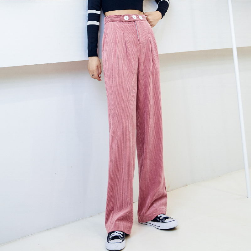 Pink High Waist Ladies Corduroy Pants 2019 Autumn And Winter Loose Harajuku Straight Trousers Female Jogging Large Size Sweatpan