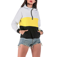 2019 Hoodies Women Autumn Winter Loose Contrast Yellow Color Stitching Zipper Sports Windproof Hooded Pullover Sweatershirt Hood active plain design sports hoodies in yellow