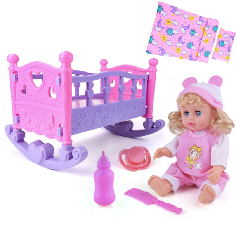 Agnicy Children's European Style Furniture Puzzle Girl Play House Toys Cradle <font><b>Bed</b></font> Music Band Doll Shaker Set image