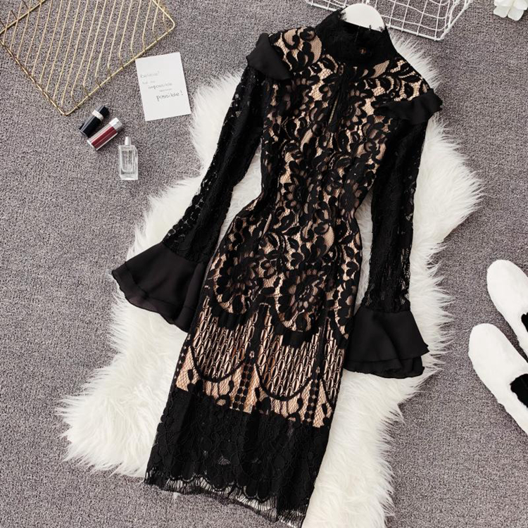 Vintage Bodycon Black Lace Dress 7