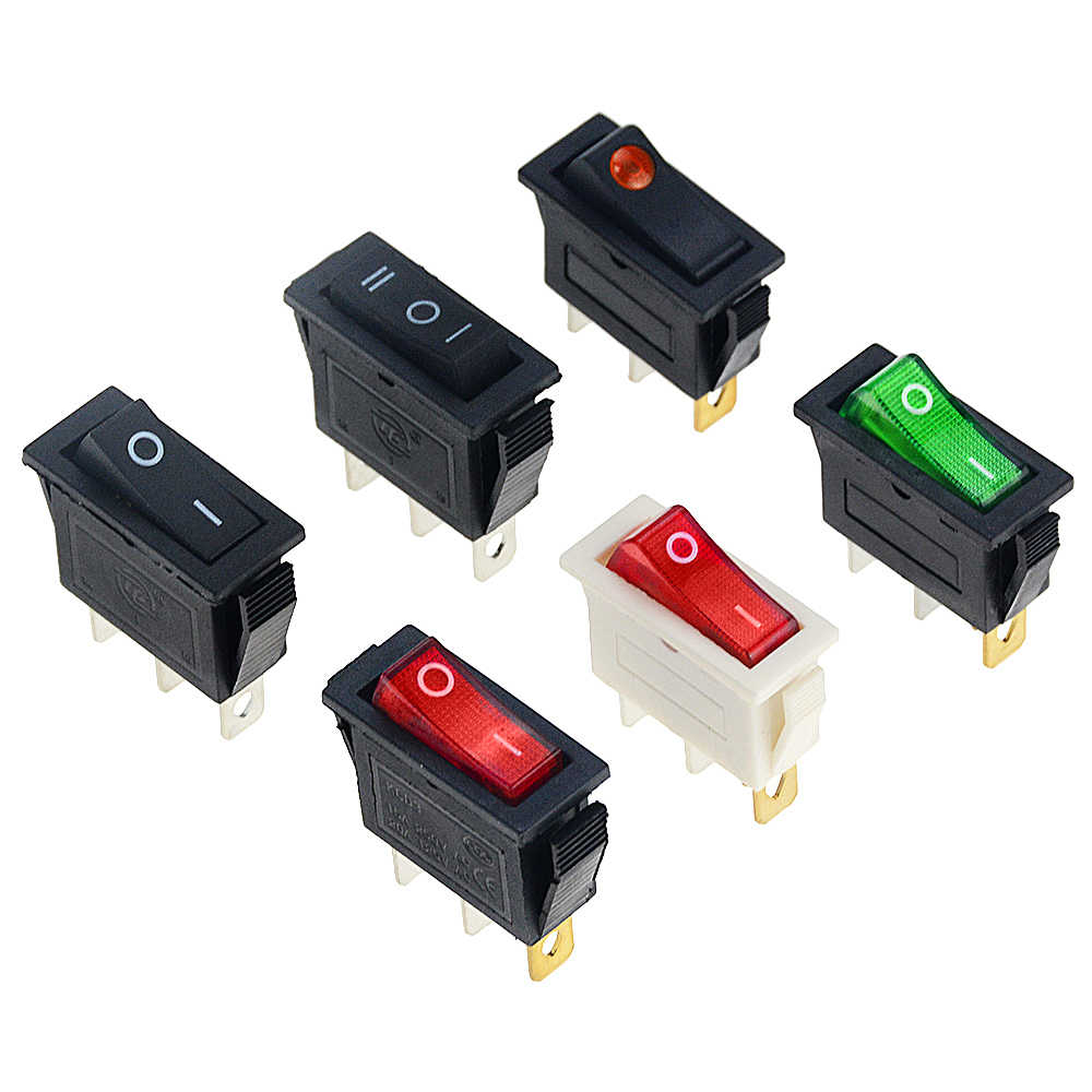 1 Pcs KCD3 Rocker Switch On-Off 2 Posisi Peralatan dengan Lampu Saklar Daya 16A 250VAC/ 20A 125VAC 30*13.5 Mm