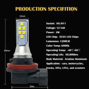Image 4 - 5PCS Auto Led H11 H8 Fog Light Super Bright 12SMD 3535 Chip White 6500K Car Bulbs Driving Running Lights 12V