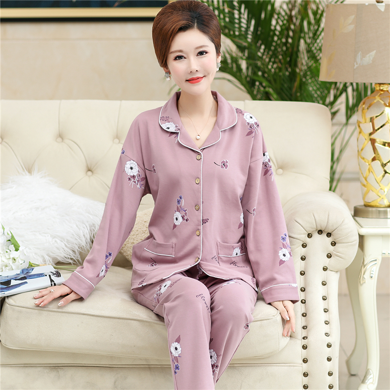 M-3XL Middle-aged Women Sleepwear Set 2019 Autumn Winter Comfortable Cotton Mother's Pajama Set Cardigan Button Pyjamas Mom