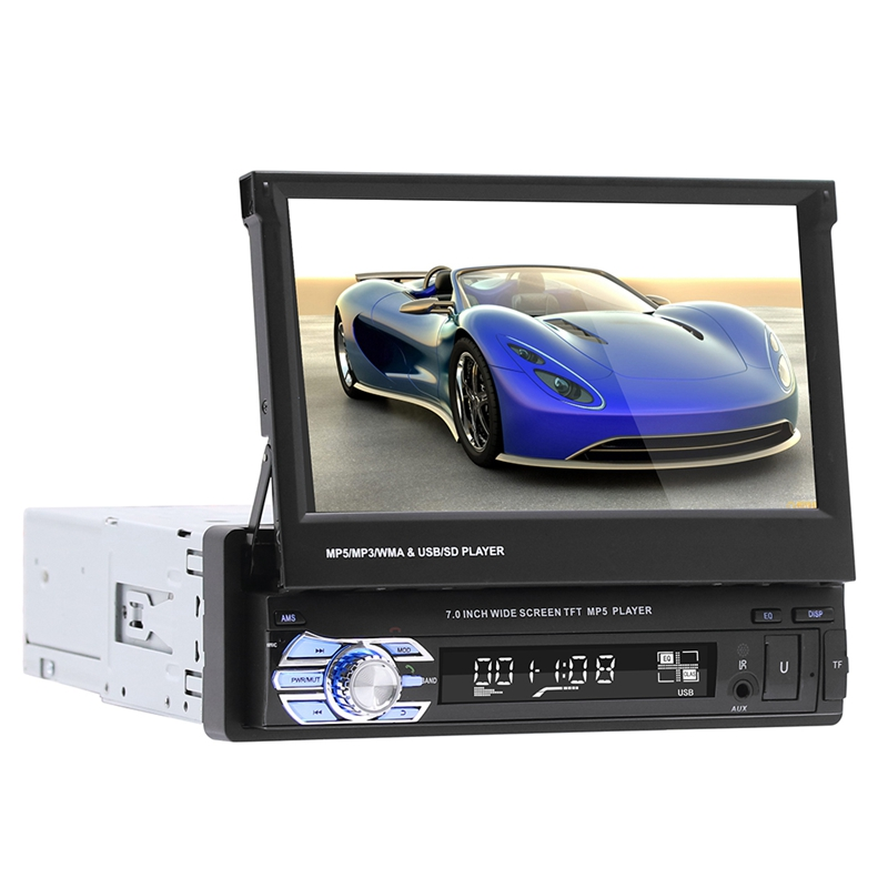 9601 Single 1Din 7 Inch Slip Down Car Stereo,In Dash 1080P Tft/Lcd Press Screen Car Fm Radio Receiver With Usb/Sd,Mp4/Mp5 Car Pl image