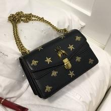 Louis Brand Star Print Bee Metal Buckle Flap Mujer Purse 2019 Women Crossbody Bag Female Bolsa Sac Shoulder Bag Luis Vuiton star detail glitter crossbody bag