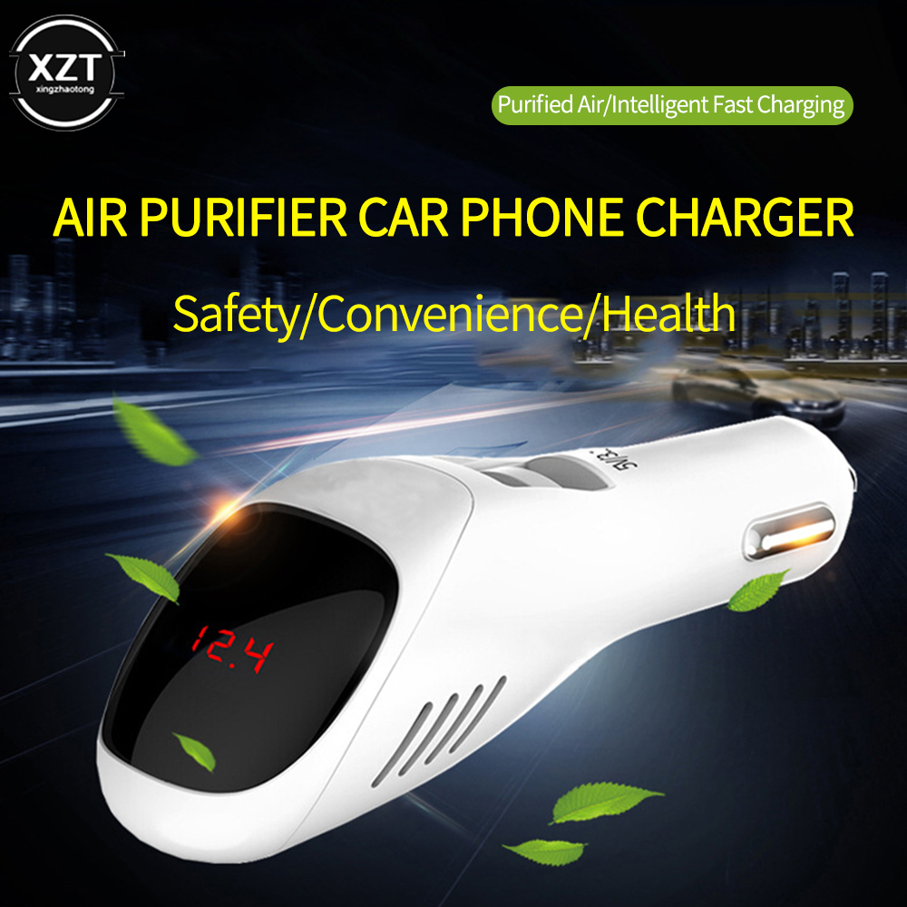 Car Air Purifier 12V 24V Negative Ions Air Cleaner Ionizer Air Freshener Auto Mist Dual USB Fast Car Charger HD Digital Display