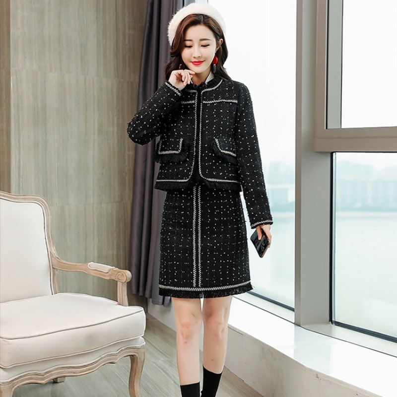 2020 Autumn Winter Elegant Tow Piece Sets Short Jackets And Mini Skirts Women Chic Black Tweed Polka Dot Slim Sexy 2 Piece Set