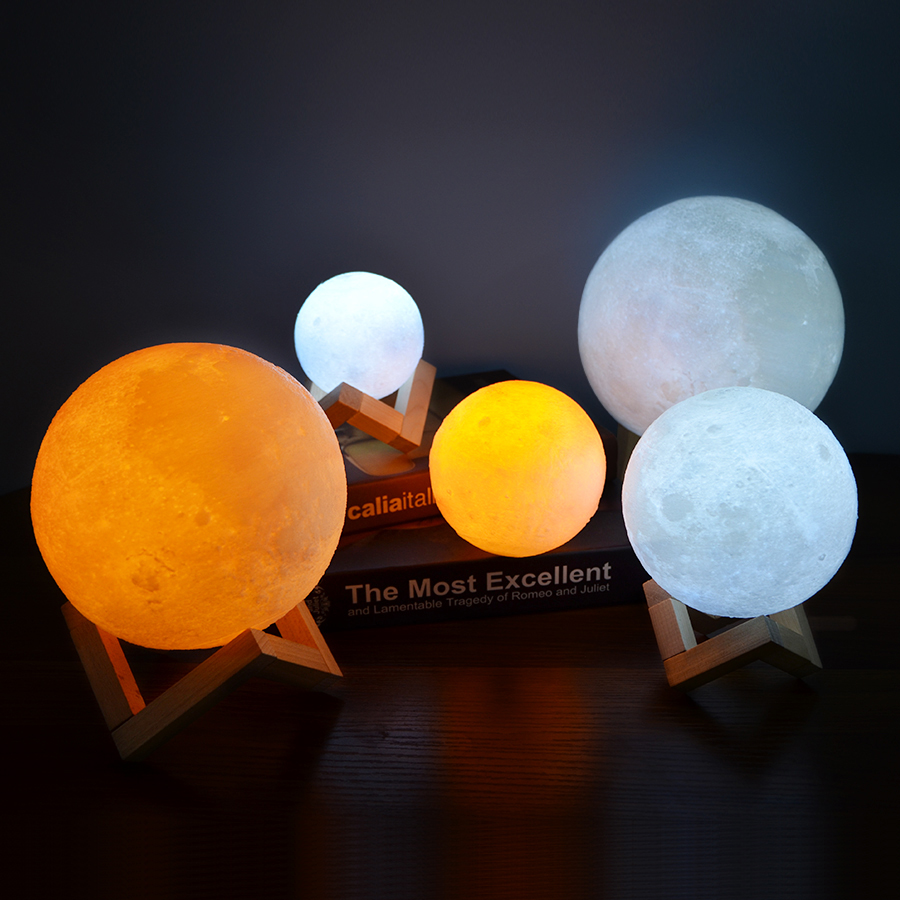 Rechargeable 3D Print Moon Lamp with LED Light For Bedroom Decoration 15