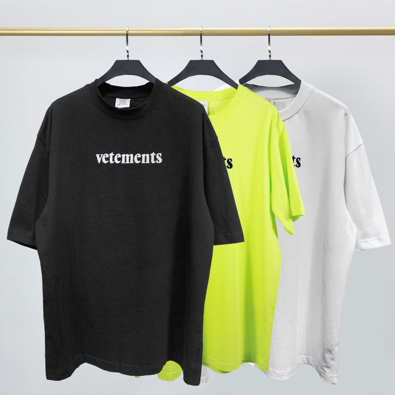 2020 Street Vetem Short Sleeve T-shirt VTM Flocking The Letter Printing Loose T-shirts For Men And Women
