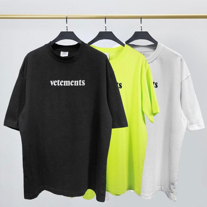2020 Street Vetem Short Sleeve T-shirt VTM Flocking The Letter Printing Loose T-shirts For Men And Women