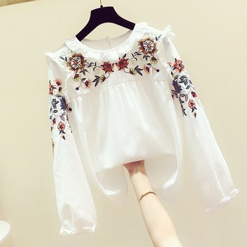 Hand Embroidered Blouse Women Lotus Leaf Shirt 2019 Autumn New Korean Version Women's Casual Round-neck Long-sleeved Shirt Tops 2019 autumn new european and american women s personality stitching ruffled long sleeved round neck slim bag hip dress