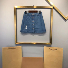 2021 Summer New style Jeans Letter Printed Blue Skirt