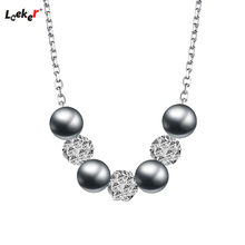LEEKER Vintage Gray White Pearl Necklace Women Rolling Crystal Beads Rose Gold Silver Color Chain 188 LK1(China)