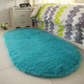 Soft Faux Fur Area Rug Carpets Living Room Long Plush Oval Carpet Artificial Wool Sheepskin Shaggy Rugs Floor Mat For Bedroom image