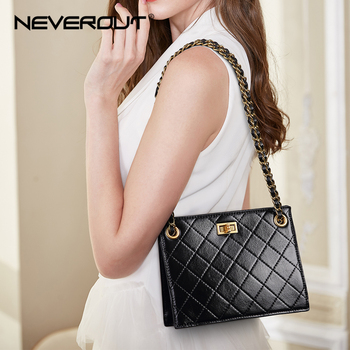 NEVEROUT Summer Small Handbags for Women Classic Leather Shoulder Bag Ladies Small Chain Totes Casual Black/White