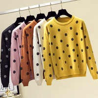 Women Sweater Autumn Vintage Polka Dot Knitted Winter Jumper Top Fashion Soft Long Sleeve O-neck Shining Sweater Pullover