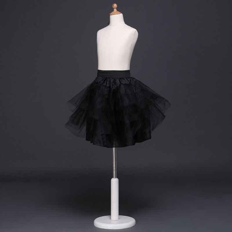 Bunga Gadis Anak-anak Klasik Lapisan Tulle Tutu Rok Pernikahan Gaun Petticoat Disesuaikan Serut Putri Lolita Memetiknya Slip