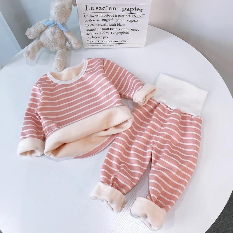 stripe pajamas set long sleeve tshirt+pant kids boy girl pijamas clothes high waist sleepwear Toddler pyjamas children winter 4