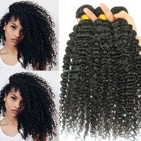 3B 3C кудрявые вьющиеся пряди, бразильские волосы, волнистые пряди, натуральный черный цвет, 8-28 дюймов, Remy человеческие волосы для наращивания...