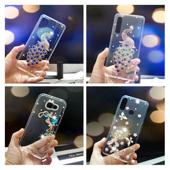 Błyszczące Rhinestone silikonowe pokrywy skrzynka dla Samsung galaxy A71 A81 A21S A51 A41 A40 A31 M31 A20 A7 A5 S20 Ultra uwaga 10 etui na telefon tanie i dobre opinie udapakoo Aneks Skrzynki 3D Ballet butterfly peacock Rhinestone phone Case Soft silicone Cover GALAXY serii GALAXY A50 GALAXY A8 2018