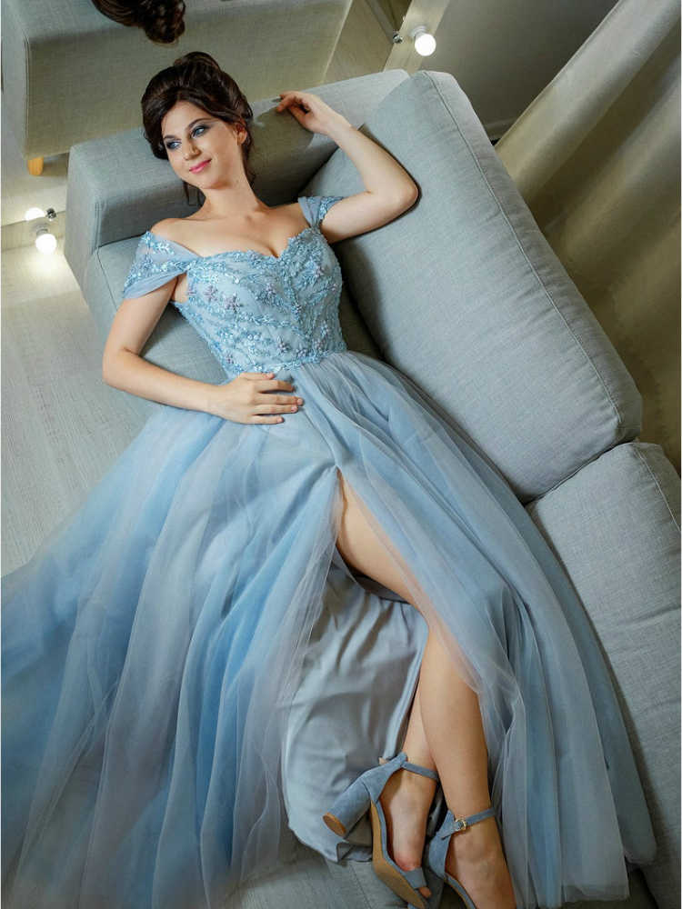 Платье вечернее כחול טול שמלות נשף גבוהה פיצול ערב שמלת אונליין Off כתף vestidos דה פיאסטה דה noche