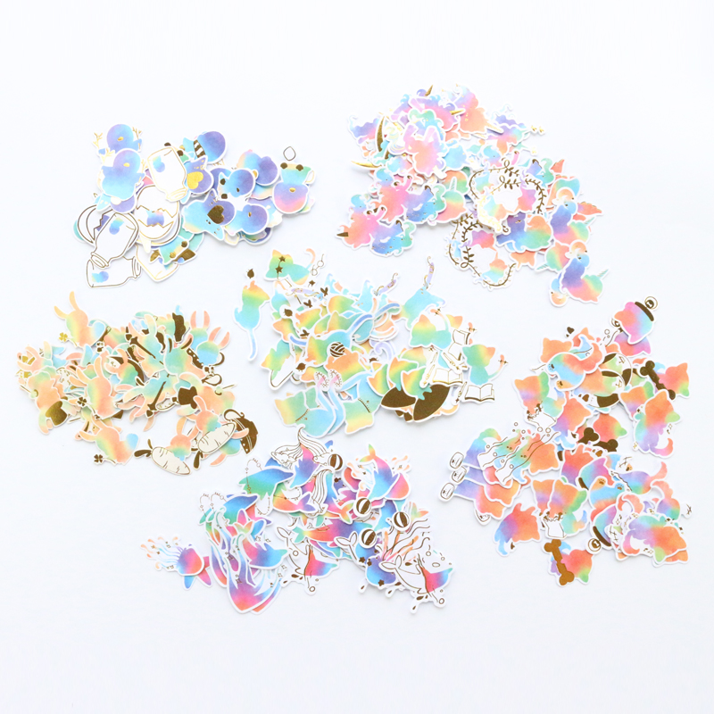 Domikee Creative Cute Candy Laser Animal Shape School Student Scrapbook Journal Diary Stickers Set Stationery Supplies 40pcs