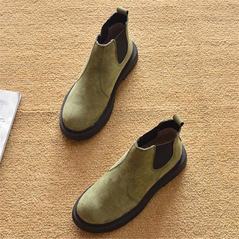 Họa Tiết Da Báo Giày Bốt Nữ Vintage Trơn Trượt Trên Mắt Cá Chân Giày Nữ Giày Nữ Gót Thấp Nữ Người Phụ Nữ Mùa Thu Đế Giày 2020 plus Kích Thước