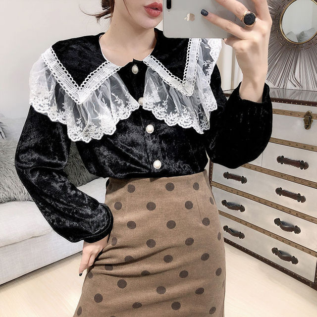 Temperament For Women 2020 Autumn Winter Lace Velvet Stitching Doll Collar Loose Shirt & Blouse Female Long-sleeved Button Tops 1