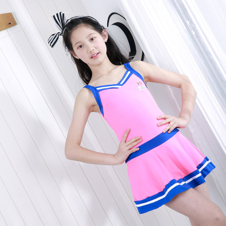 Girl'S Swimsuit 2019 New Style One-piece Conservative Cute Student's Dress-Big Boy Sporty Hot Springs Bathing Suit Wholesale